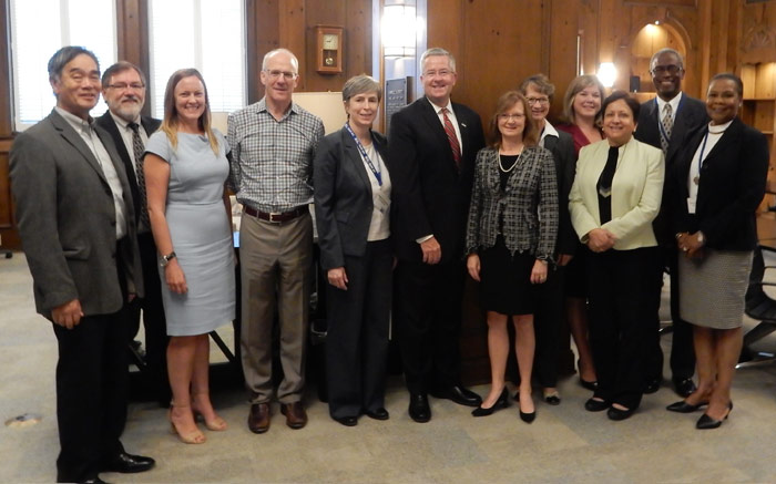 GTCUW board and staff pose with Brian Gallagher from UWW